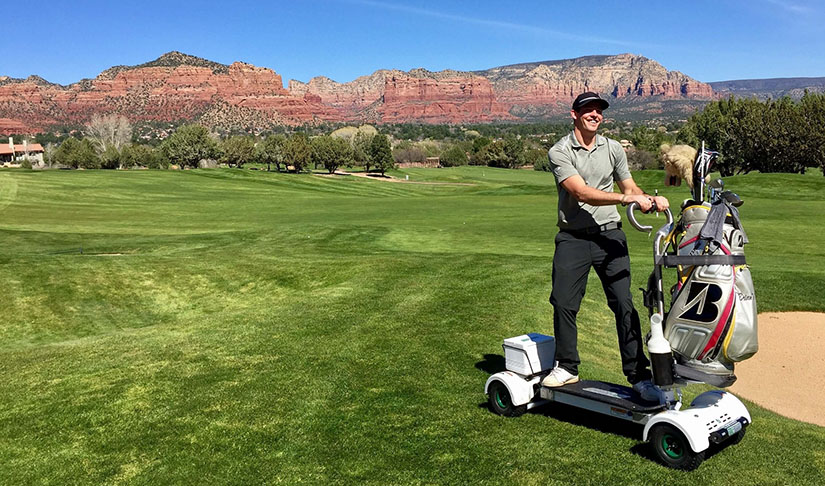 Player riding GolfBoard